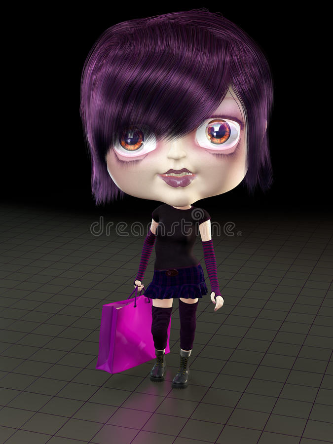 Girl with shopping bag. vector illustration