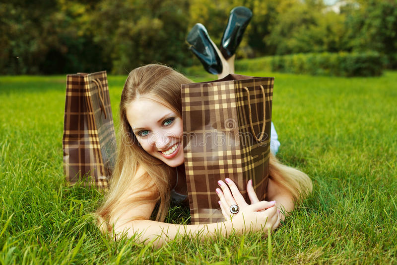 Download Girl with shopping bags stock photo. Image of blond, female - 12229786