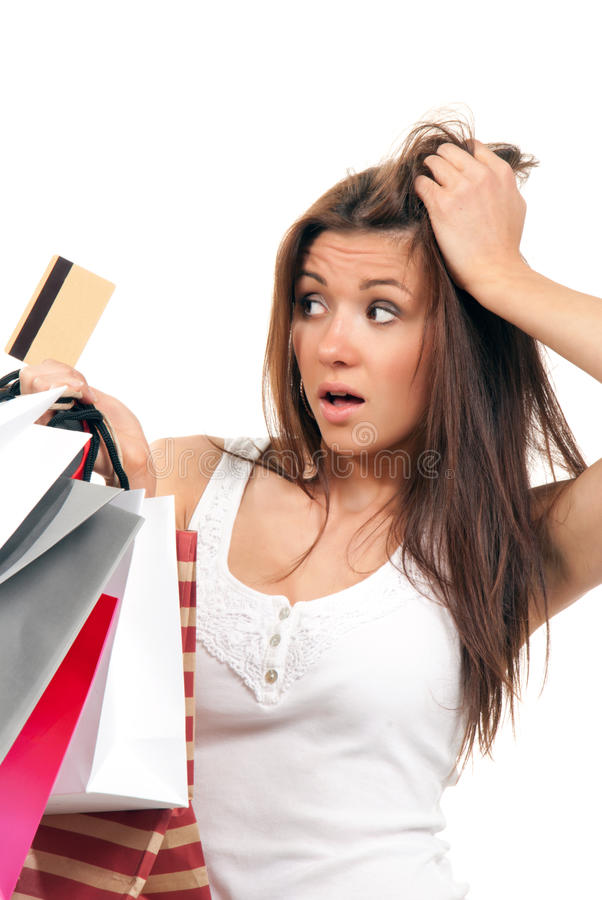 Download Girl Shopping Bags And Credit Card In Her Hand Stock Photo - Image: 18959142