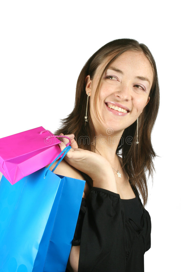 Download Girl with shopping bags stock image. Image of bags, isolated - 193505
