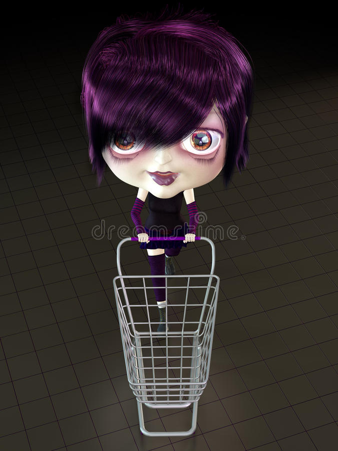 Girl with shopping cart. vector illustration