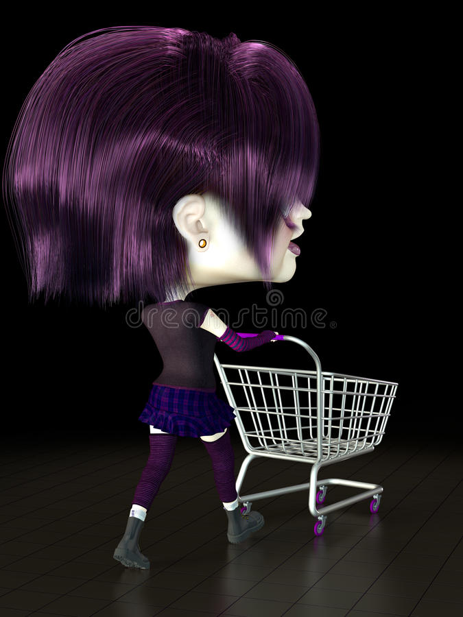 Girl with shopping cart. royalty free illustration