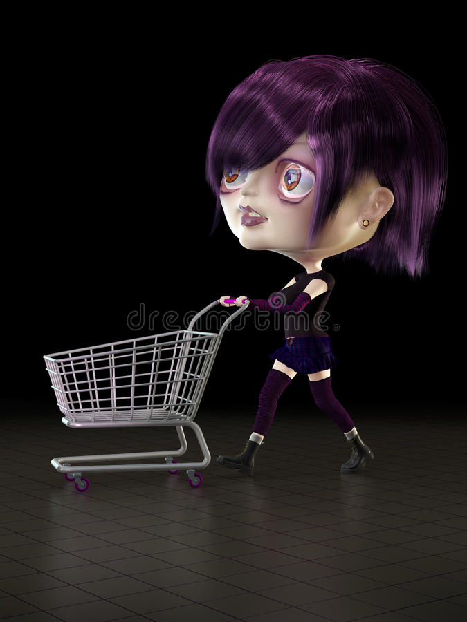 Girl with shopping cart. stock illustration