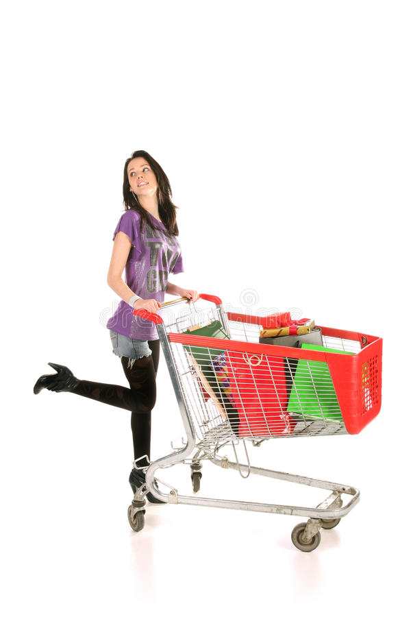 Download Girl with shopping cart stock image. Image of present - 12681361
