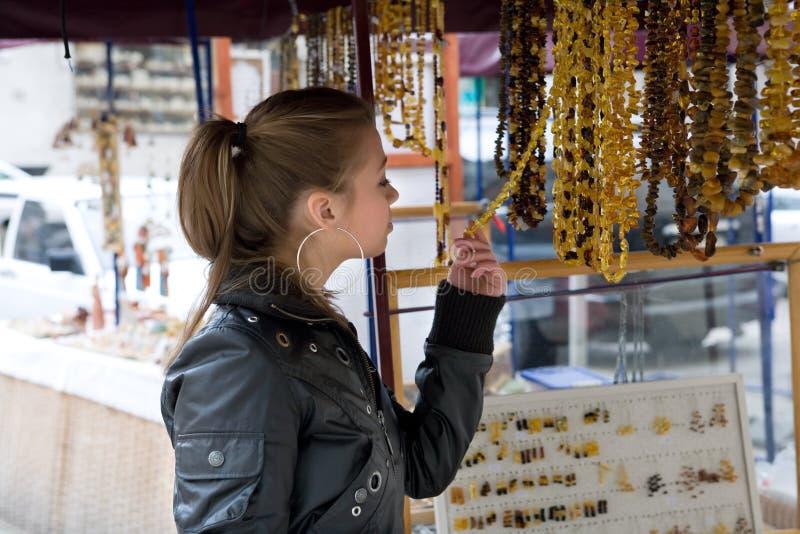 Girl shopping in market stock photos