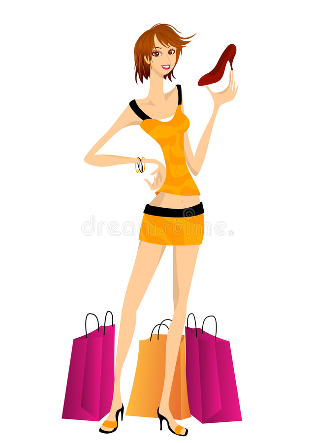 Girl Shopping for Shoes stock images