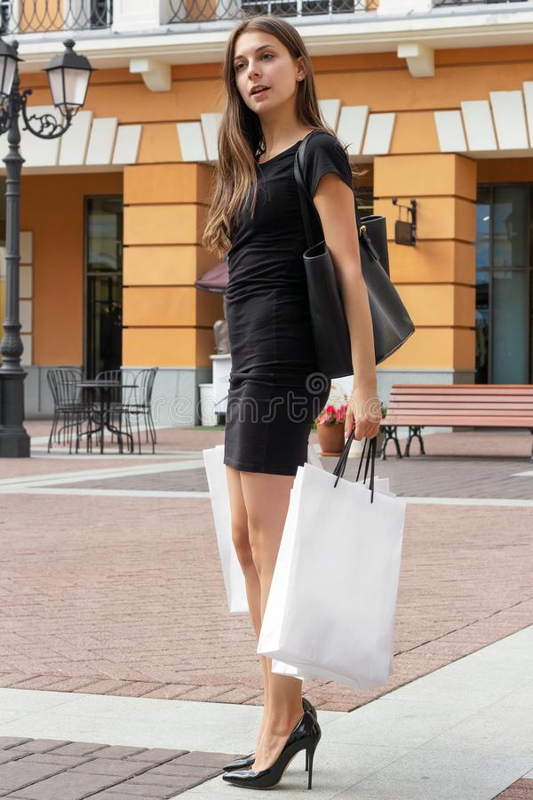 Girl shopping therapy communication purchase buying lifestyle stock image