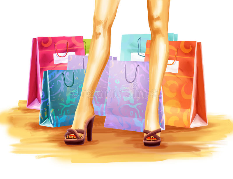 Girl after shopping royalty free illustration