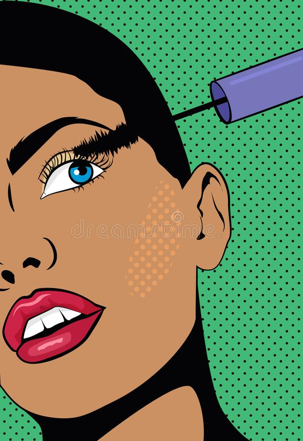 A Girl with a short hair doing make up. Woman holds a hand with mascara near the eyes. Illustration with a girl in pop vector illustration