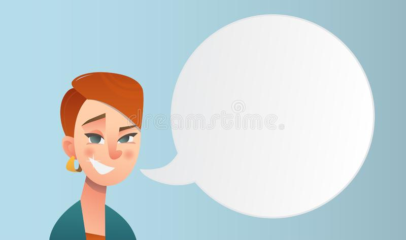Girl with short red hair in cartoon style with speeech bubble. Beautiful vector flat design set template. Flyer nd site elements royalty free stock photo