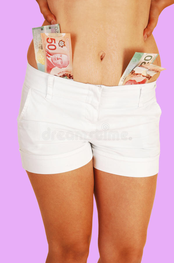 Girl in shorts with money.