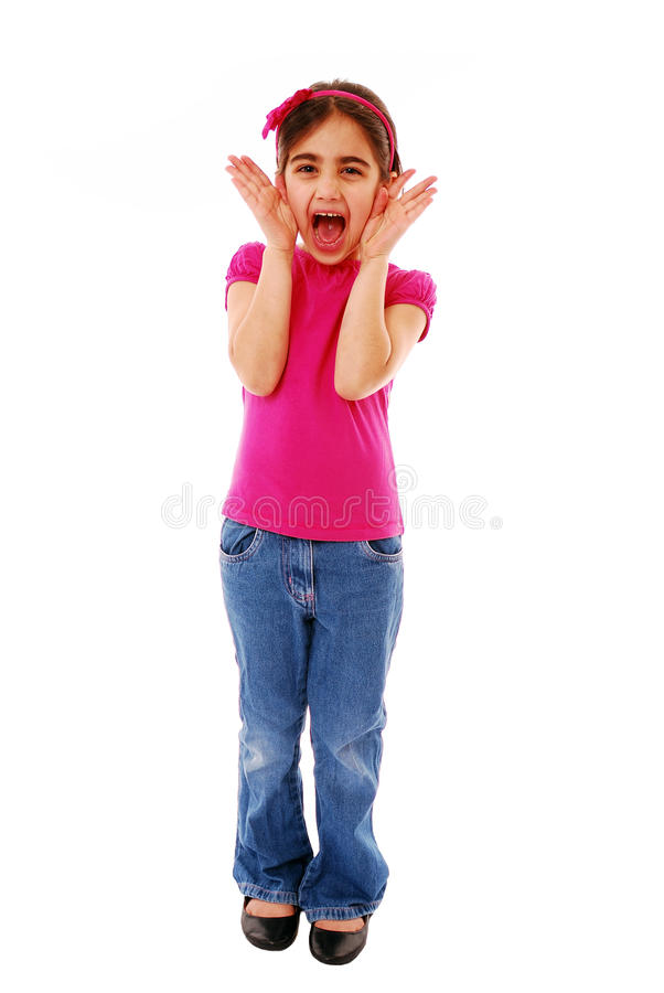 Girl shouting. Little girl shouting (attention seeker)isolated on white royalty free stock images
