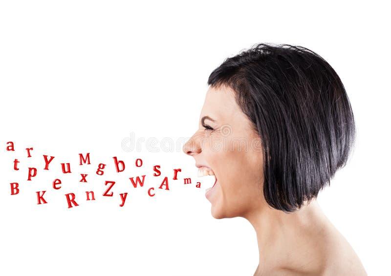 Girl shouts stock photo