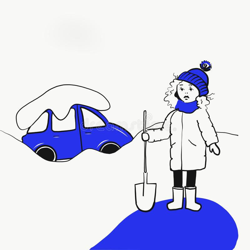 Girl with a shovel is going to dig up the car royalty free illustration