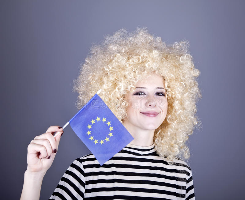 Download Girl With Show European Union Flag. Stock Photo - Image: 16884488