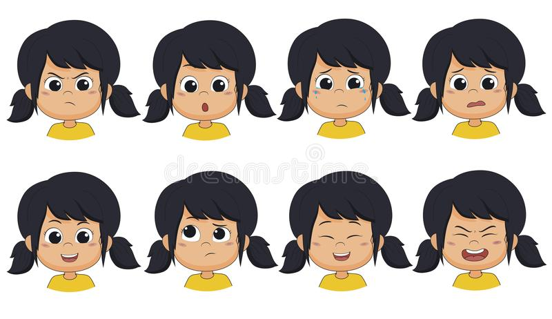 The girl show expression such as angry ,surprised,cry,fear,smile,think vector illustration