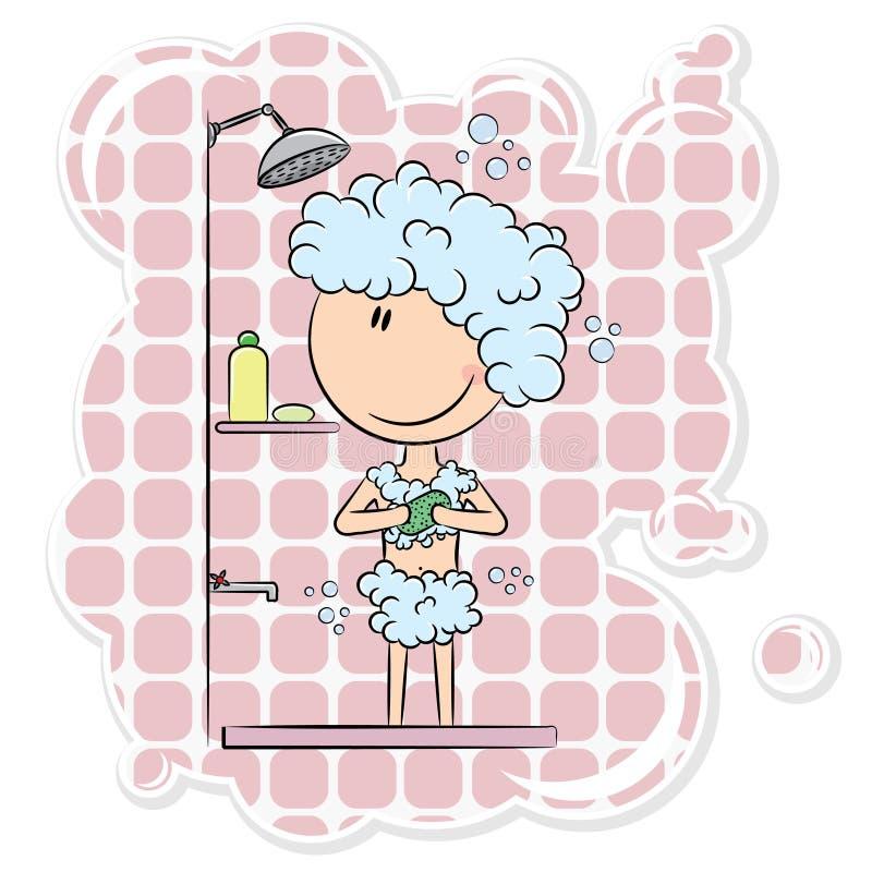 Girl in the shower stock illustration