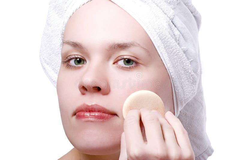 Girl after shower make-up stock images
