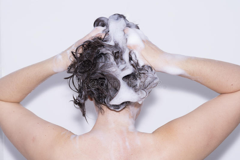 Download Girl in the shower. stock photo. Image of hygiene, hair - 62235910