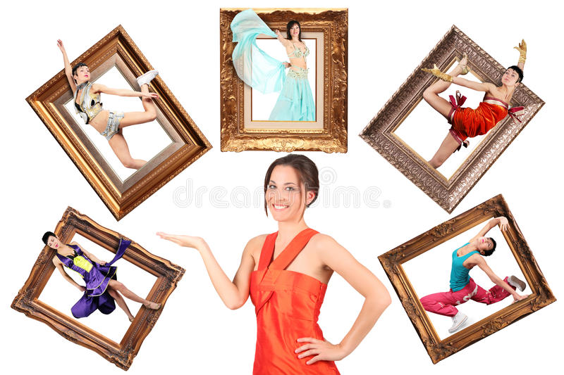 Girl Showes Multi Task Many Women In Picture Frame Stock Photos