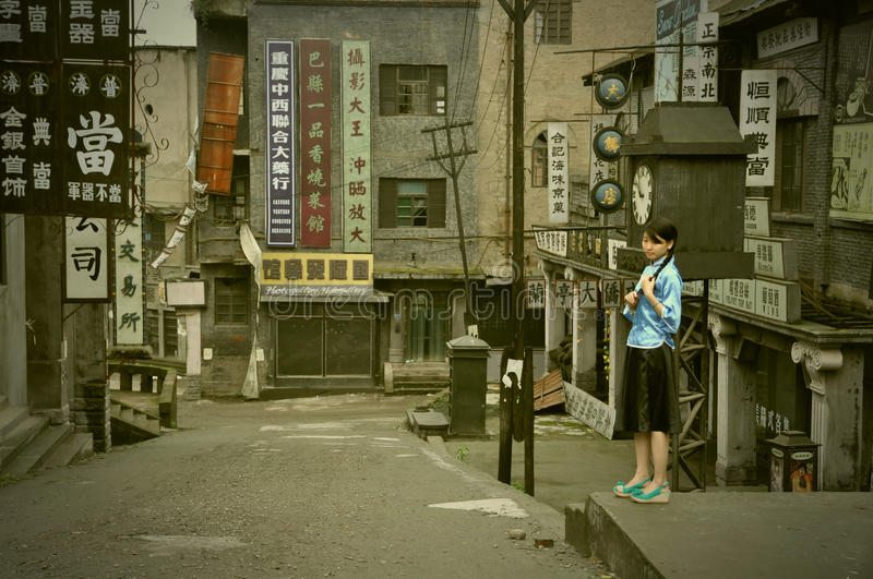 Girl showing in abandoned movie locations royalty free stock photos