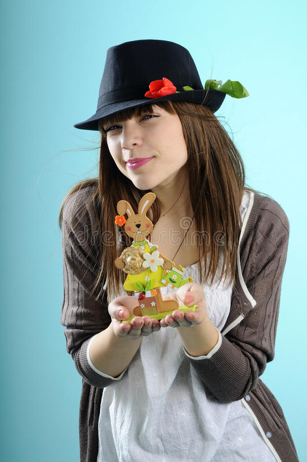 Download Girl Showing Bunny And Celebrating Easter Stock Photo - Image: 13182654