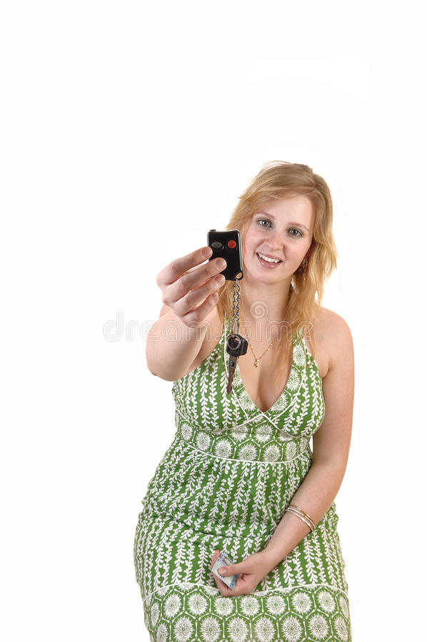 Download Girl showing car keys. stock photo. Image of cute, caucasian - 22138324