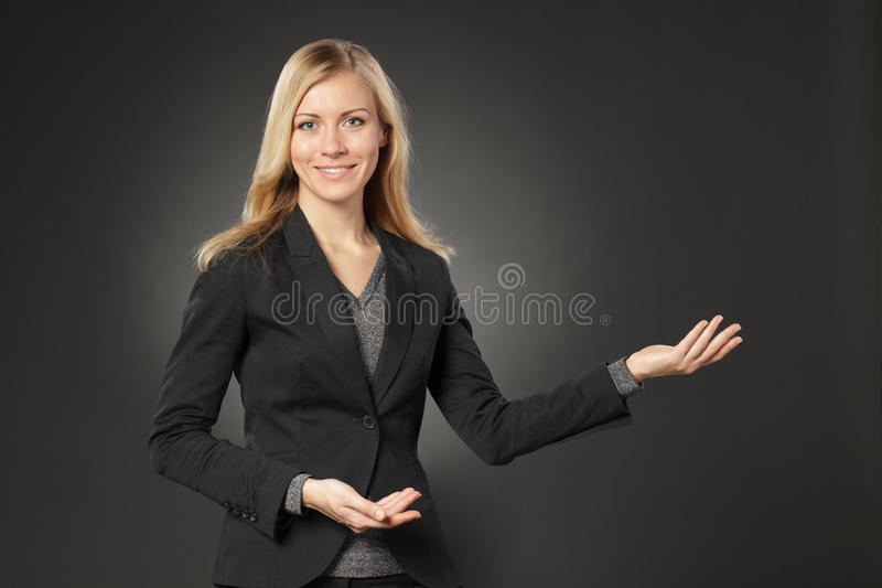 Girl showing copy space royalty free stock photos