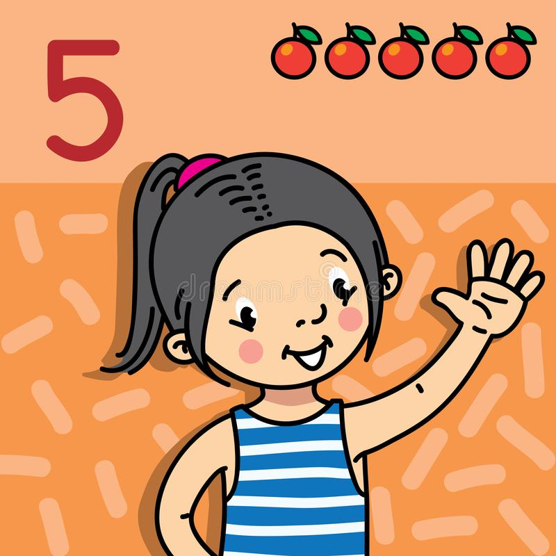 Free Girl Showing Five By Hand. Counting Education Card Royalty Free Stock Photography - 108597887