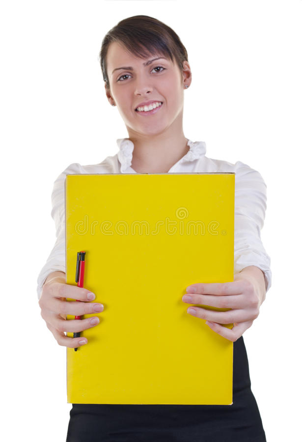 Girl Showing A Folder Stock Photography