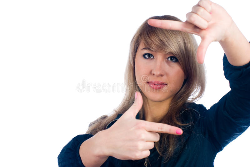 Download Girl showing frame sign stock image. Image of caucasian - 14520491
