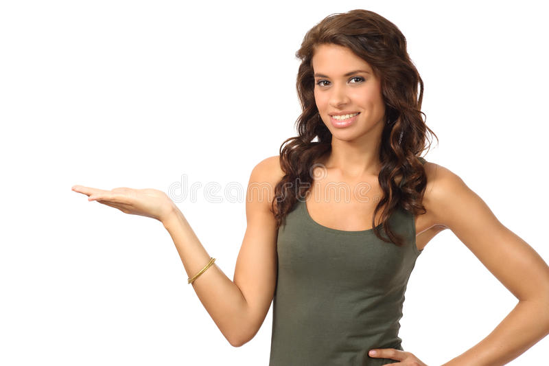 Download Girl showing open palm stock photo. Image of clear, curly - 21007280