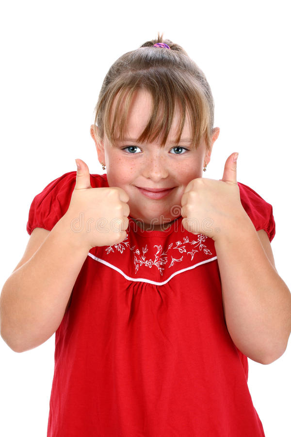 Girl showing thumbs up gesture isolated on white