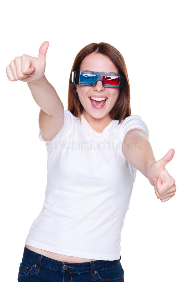 Girl showing thumbs up and laughing stock images