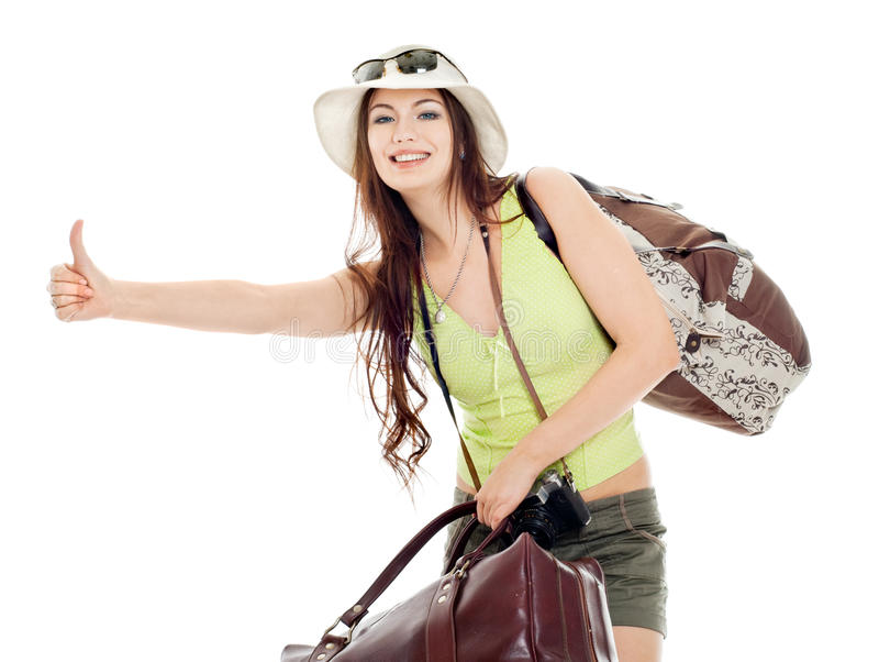 The girl shows catches a passing car. White background royalty free stock images