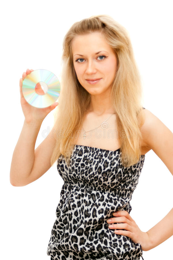 Download The girl shows a disk stock image. Image of record, separately - 13324611