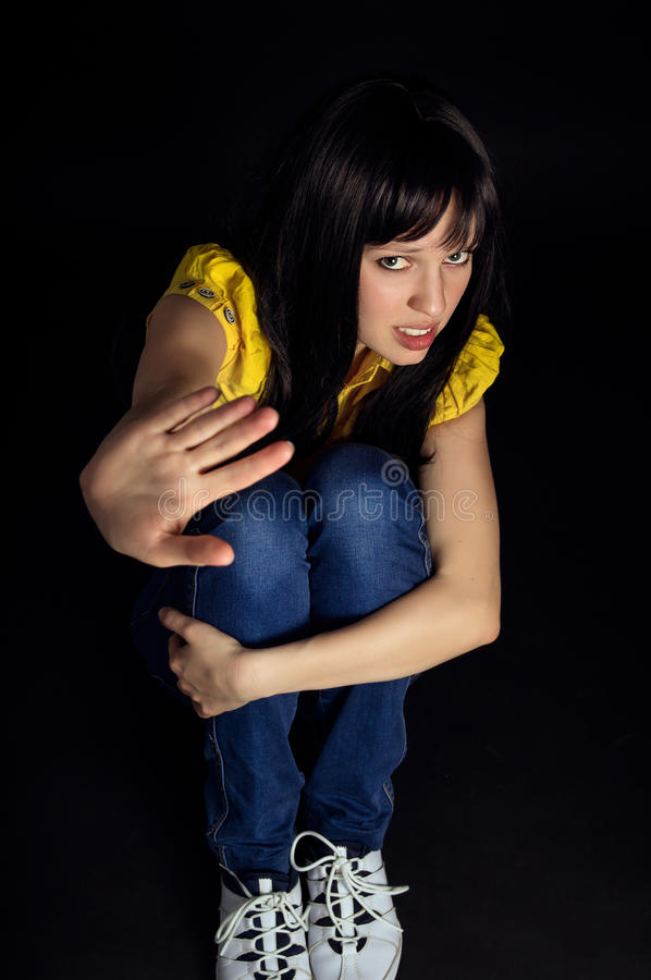 Girl shows a hand stop stock photography