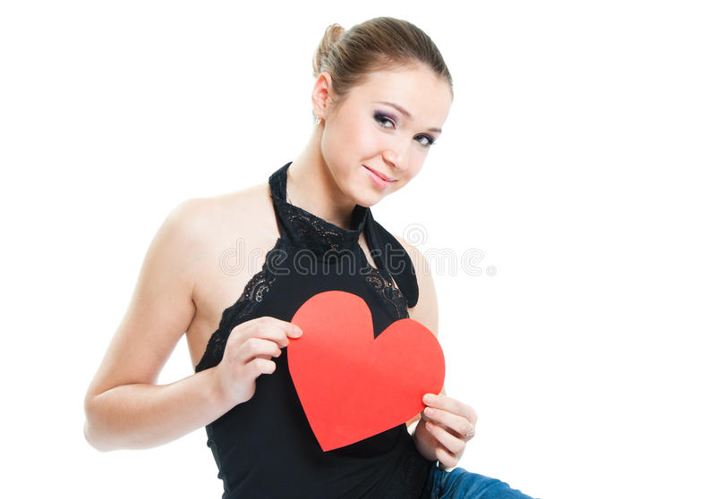 Download The girl shows the heart stock image. Image of face, girl - 21943873