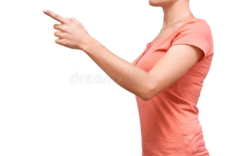 Girl shows her hand gesture. Isolated on white background stock photos
