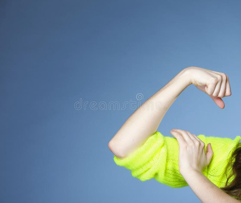 Download Girl Shows Her Muscles Strength And Power Stock Photo - Image: 39314886