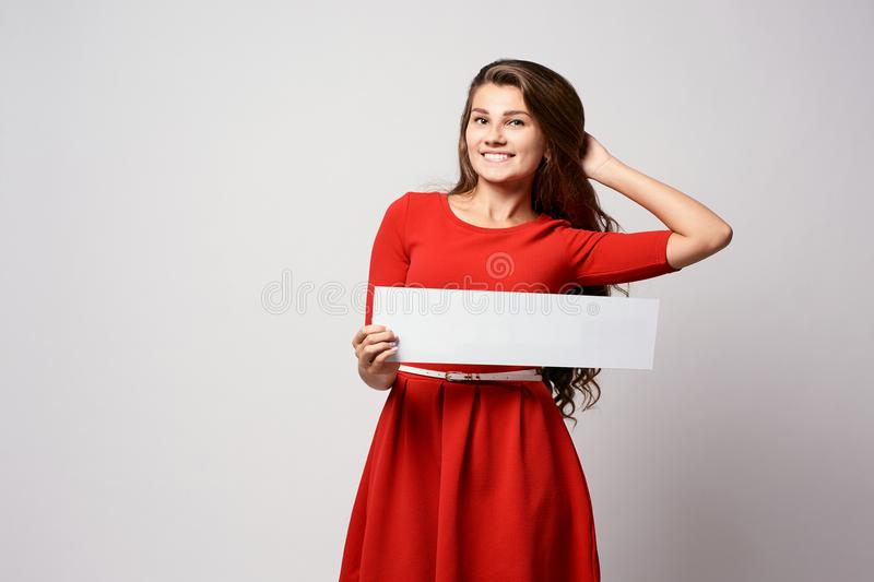 Girl with sign. Template. Pride of parents royalty free stock photography