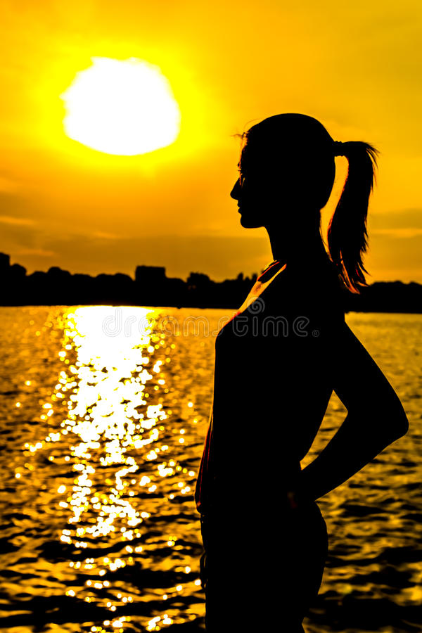 Download Girl Silhouette stock photo. Image of evening, face, hair - 24734944