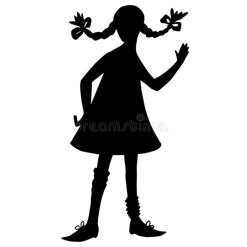 Girl silhouette. Black contour isolated on white background. Pigtails hairstyle, short dress, big shoes. Literature cartoon royalty free illustration