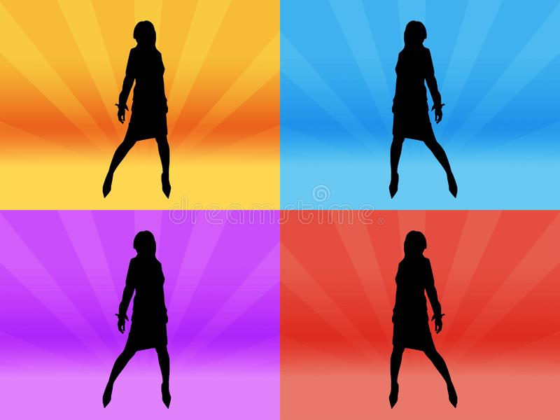 Girl silhouette at disco stock image