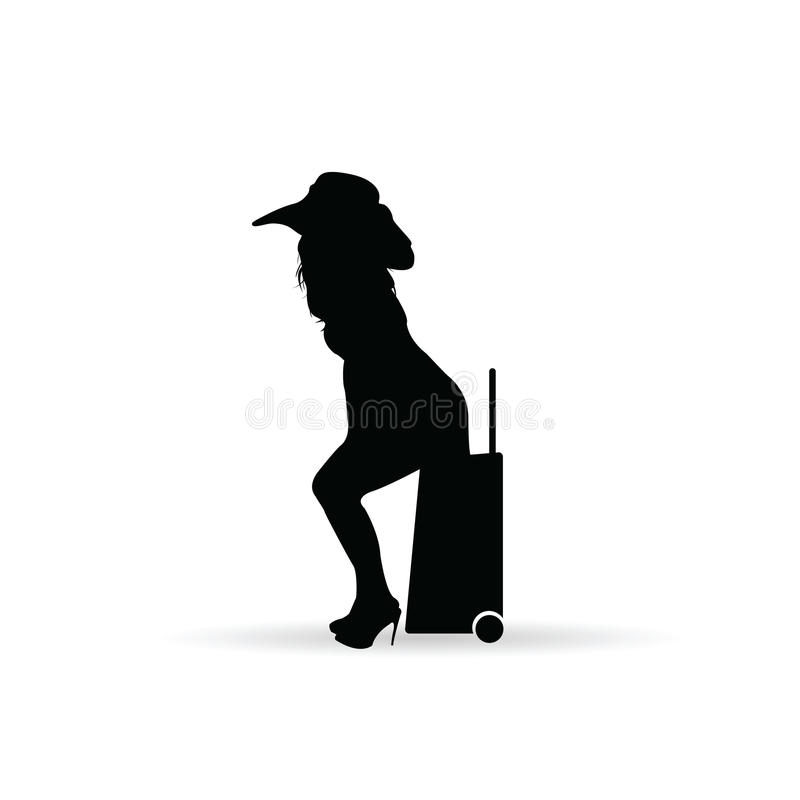 Vintage Child At Sunny Beach With Travel Suitcase Stock: Travel Girl Silhouette Stock Vector. Illustration Of Boots
