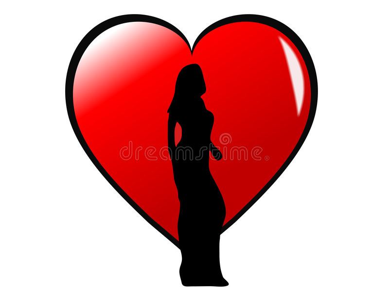 Girl Silhouette on a Heart vector illustration