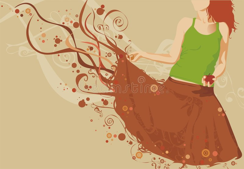 Girl silhouette holding an apple royalty free illustration