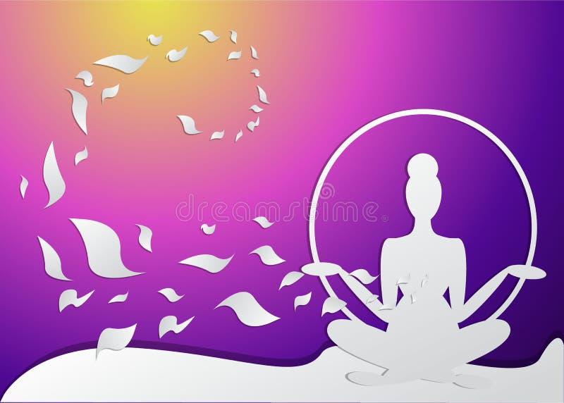 Girl silhouette meditate, lotus pose royalty free illustration