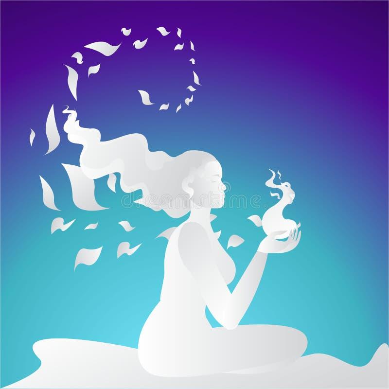 Girl silhouette meditate, lotus pose vector illustration
