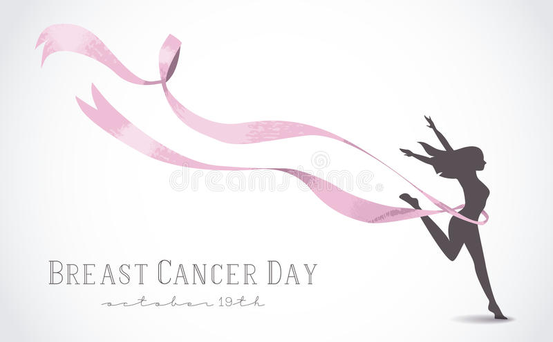 Girl silhouette with pink ribbon for breast cancer. Healthy woman silhouette with pink ribbon in support of breast cancer awareness day. EPS10 vector vector illustration